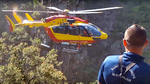 Intervention de l'EC 145 F-ZBQI Dragon 34 pour le sauvetage d'une jument tombée au fond du canyon de la Sant Julia à Corbère (66) - Photo © Radio France - Baptiste Guiet
