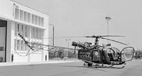 L'Alouette 2 F-ZBAK Protection civile sur l'aéroport de Nice en 1964 - Photo DR Fond du laboratoire photographique de l'Equipement, Archives Départementales