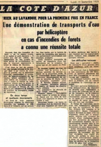 Article du journal du 14 septembre 1959 - Bell 47 G2 Protection civile 1959 avec Raymond GABARD et Charles SCHMITT - Article DR Archives GHSC