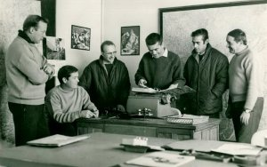 De gauche à droite : Christian GRAVIOU, Paul ROUET, Jacques BERARD, Jean-Louis LUMPERT, Francis RIERA et Louis MARET - Photo DR Archives GHSC Base d'Annecy