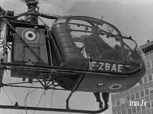 Alouette 2 F-ZBAE de la Protection civile en avril 1964 (Les pompiers volants) - Photo INA