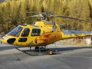 Pascal's distinctive yellow helicopter