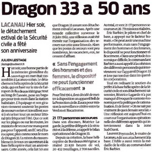 "Article "" Dragon 33 a 50 ans - Article sudouest.fr"