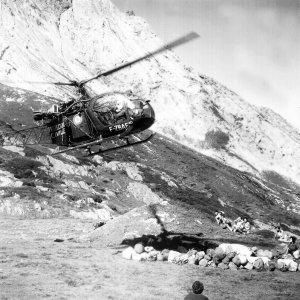 Atterrissage de l'Alouette 2 F-ZBAF Protection civile vers 1964 - Photo DR